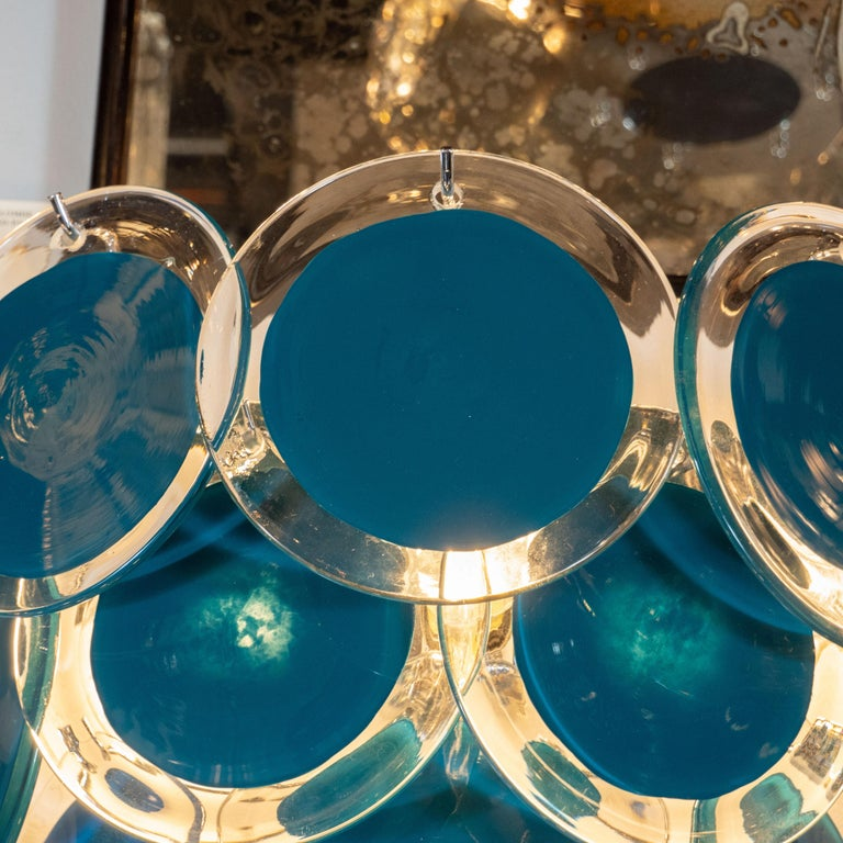 Italian Modernist 14-Disc Sconces in Handblown Murano Turquoise & Translucent Glass For Sale