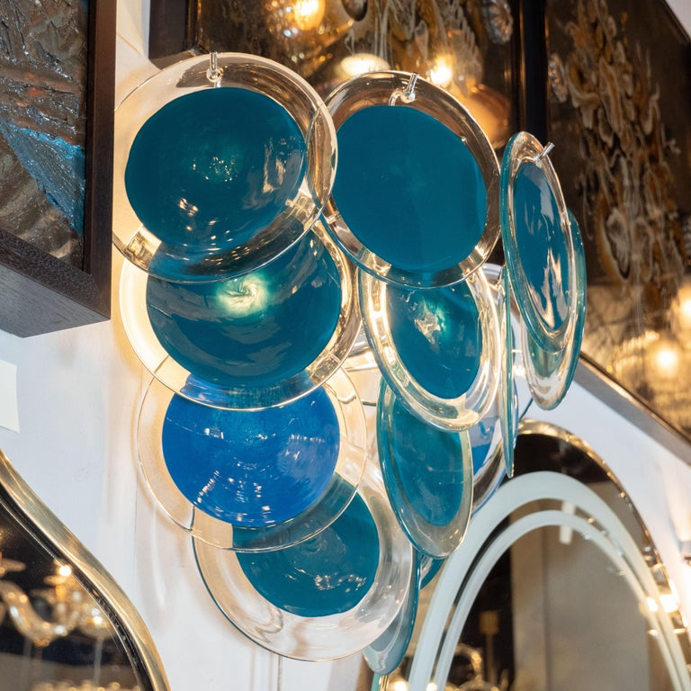 Modernist 14-Disc Sconces in Handblown Murano Turquoise & Translucent Glass In Excellent Condition For Sale In New York, NY
