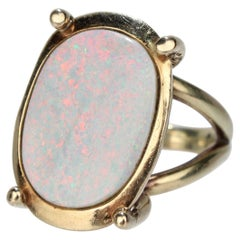 Modernist 14 Karat Gold and Opal Cocktail Ring