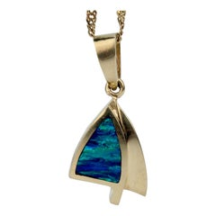 Modernist 14 Karat Gold and Opal Pendant Necklace