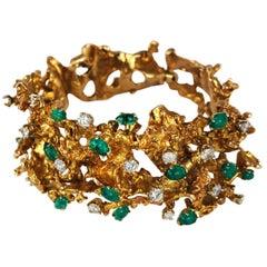 Modernist 14 Karat Gold Emerald Diamond Organic Freeform Bracelet, circa 1960