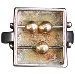 Modernist 14-Karat Gold & Silver Ring