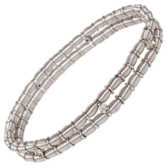 Modernist 14 Karat White Gold Two-Strand Link Bracelet with White Diamonds