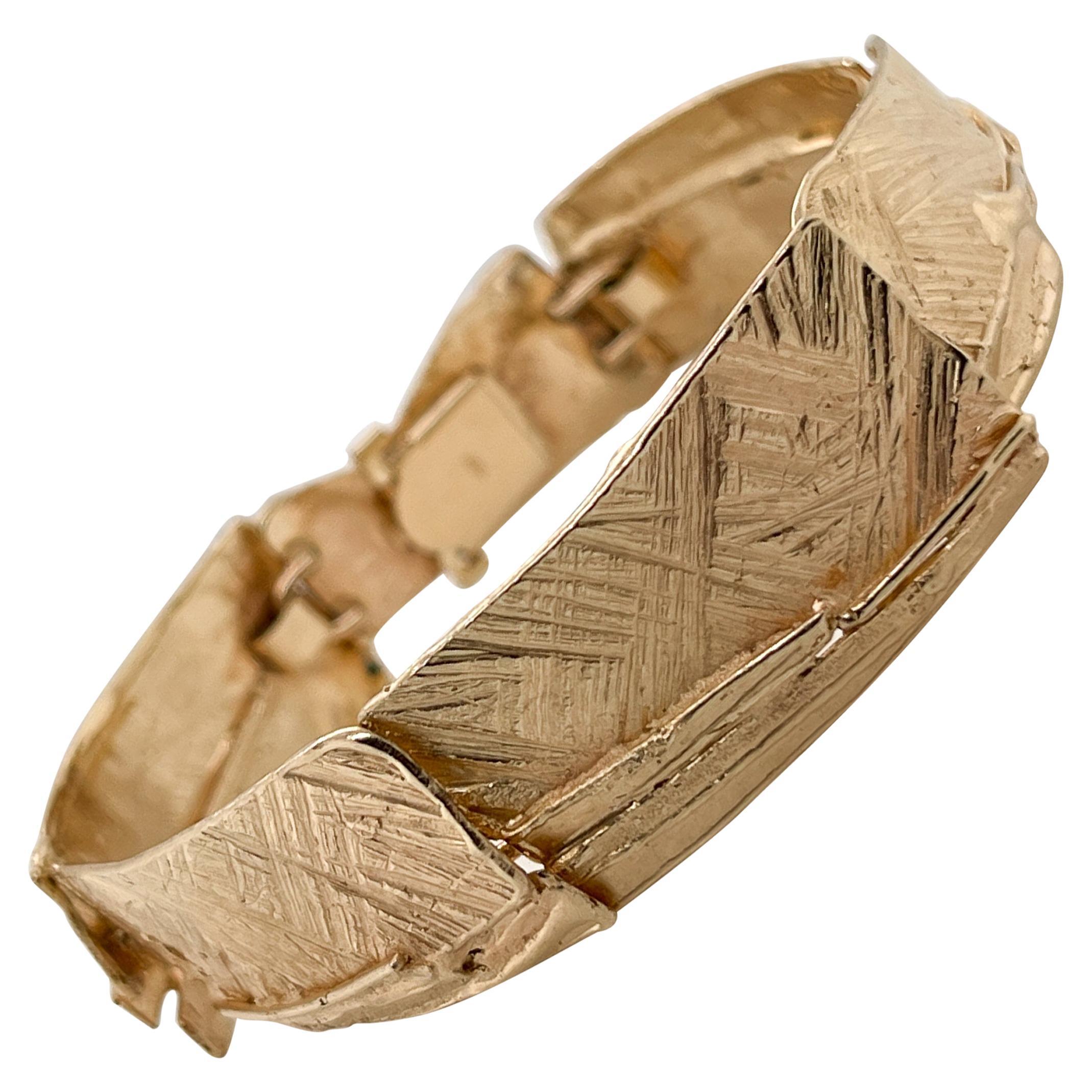 Modernist 14k Gold Link Bracelet Attributed to Glenda Arentzen, Ex-Aaron Faber