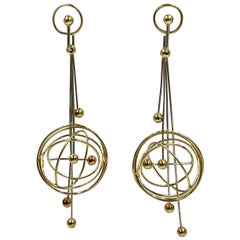 Modernist 18 Karat Gold Dangle Drop Earrings Sputnik Retro