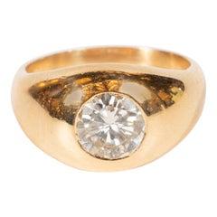 Modernist 18 Karat Gold and Brilliant Cut Diamond Ring by Petochi