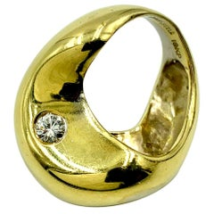 Modernist 18 Karat Gold and Diamond Moon and Stars Ring