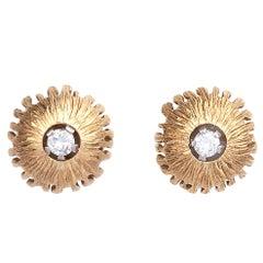 Modernist 18 Karat Gold Diamond Set Earring