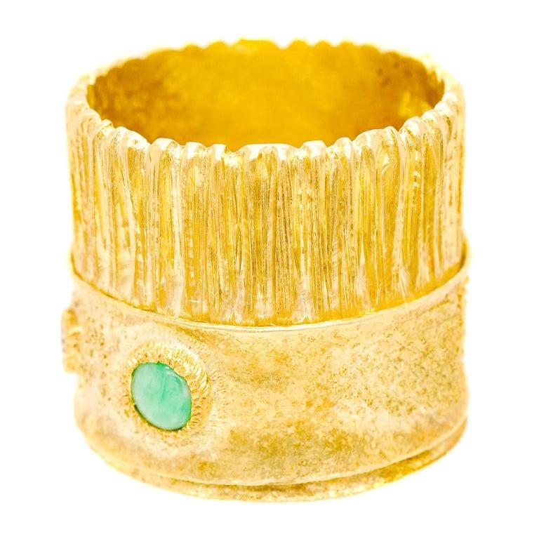 Brilliant Cut Modernist 18 Karat and 22 Karat Gold Ring For Sale