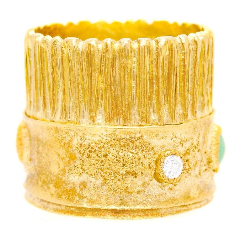 Modernist 18 Karat and 22 Karat Gold Ring For Sale 2