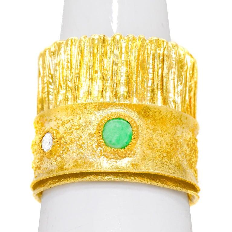 Modernist 18 Karat and 22 Karat Gold Ring For Sale 3