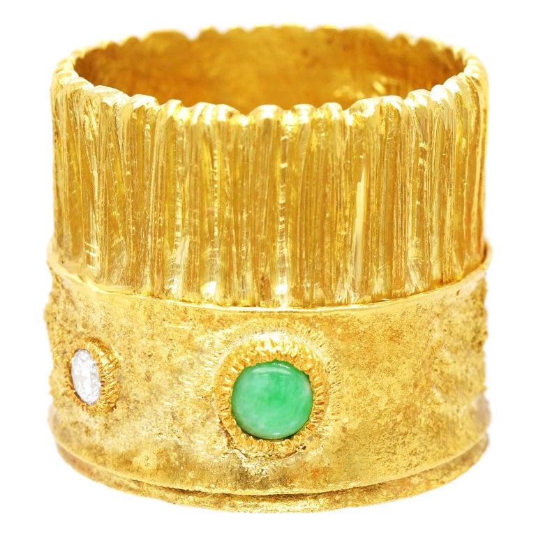 Modernist 18 Karat and 22 Karat Gold Ring For Sale