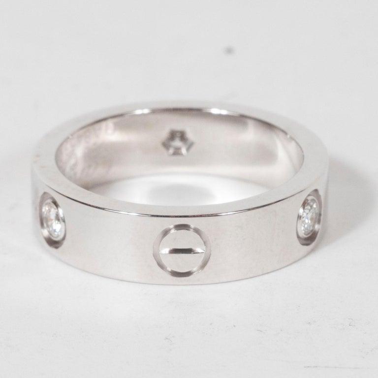 Modernist 18 Karat White Gold & Three Diamond