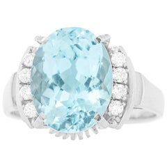 Modernist 1950s Aquamarine and Diamond-Set Platinum Ring