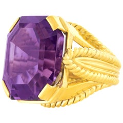 Modernist 1960s Amethyst Set Gold Ring