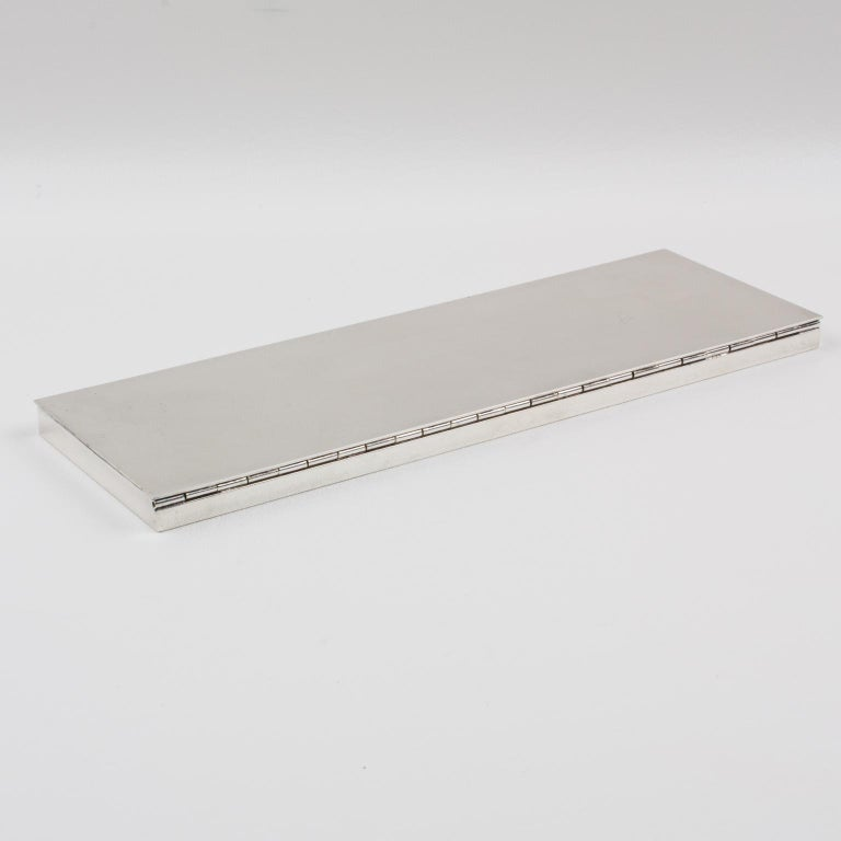 Modernist 1960s Extra Long and Flat Silver Plate Box In Good Condition For Sale In Atlanta, GA