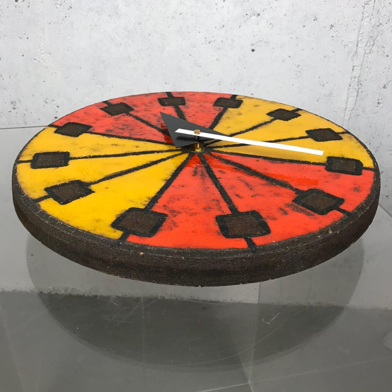 Modernist 1960s Italian Ceramic Wall Clock by Bitossi & George Nelson For Sale 3