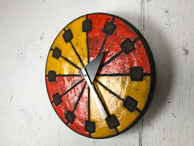 Modernist 1960s Italian Ceramic Wall Clock by Bitossi & George Nelson For Sale 5