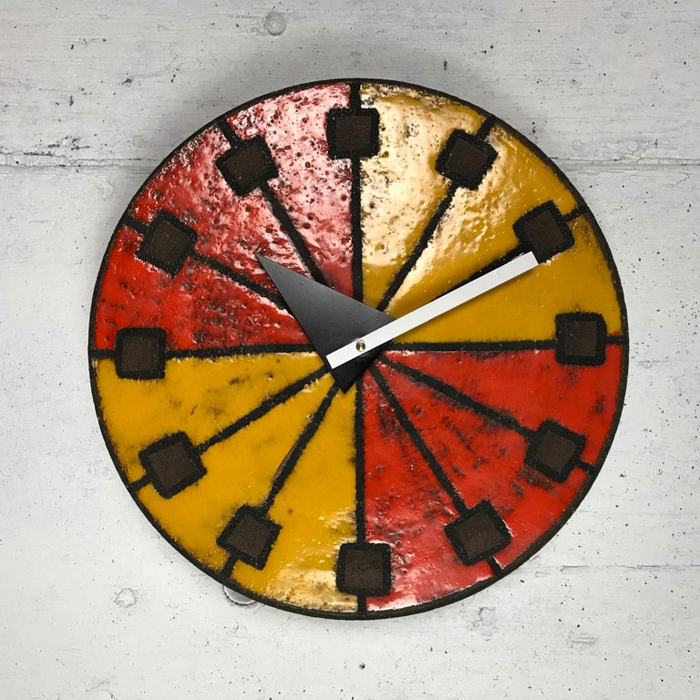 Modernist 1960s Italian Ceramic Wall Clock by Bitossi & George Nelson For Sale 6