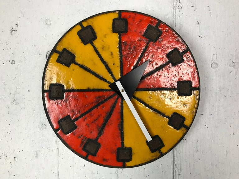 Modernist 1960s Italian Ceramic Wall Clock by Bitossi & George Nelson For Sale 1