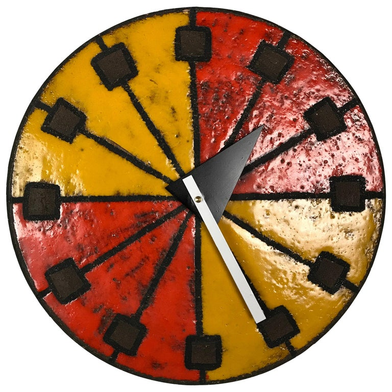 Modernist 1960s Italian Ceramic Wall Clock by Bitossi & George Nelson For Sale