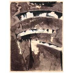 Modernist 1960s Japanese Woodblock Print, Shinichi Takahashi