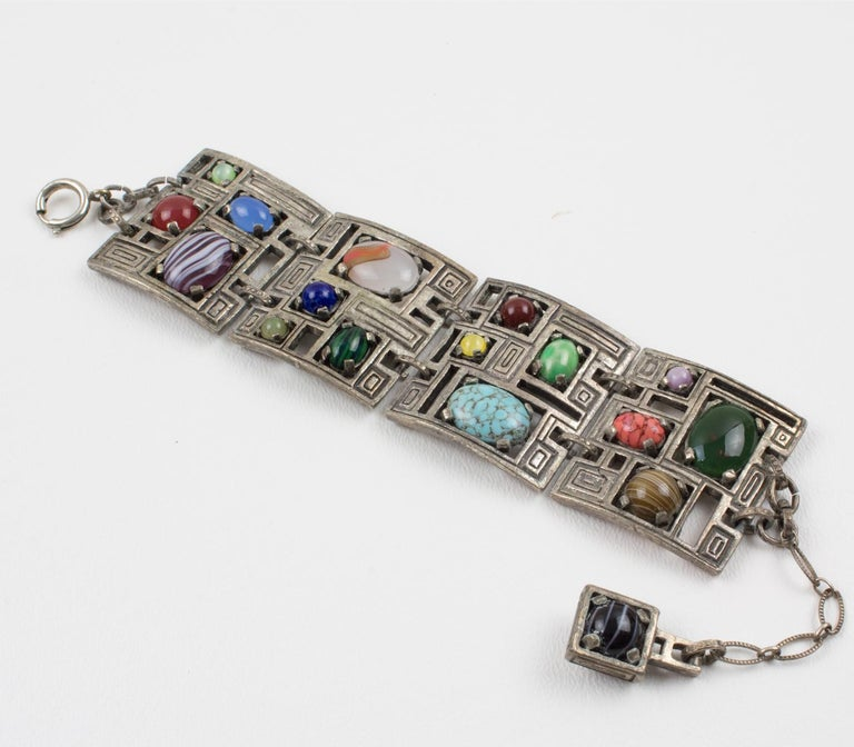 Modernist 1960s Silvered Metal Gem Stones Link Bracelet For Sale 8