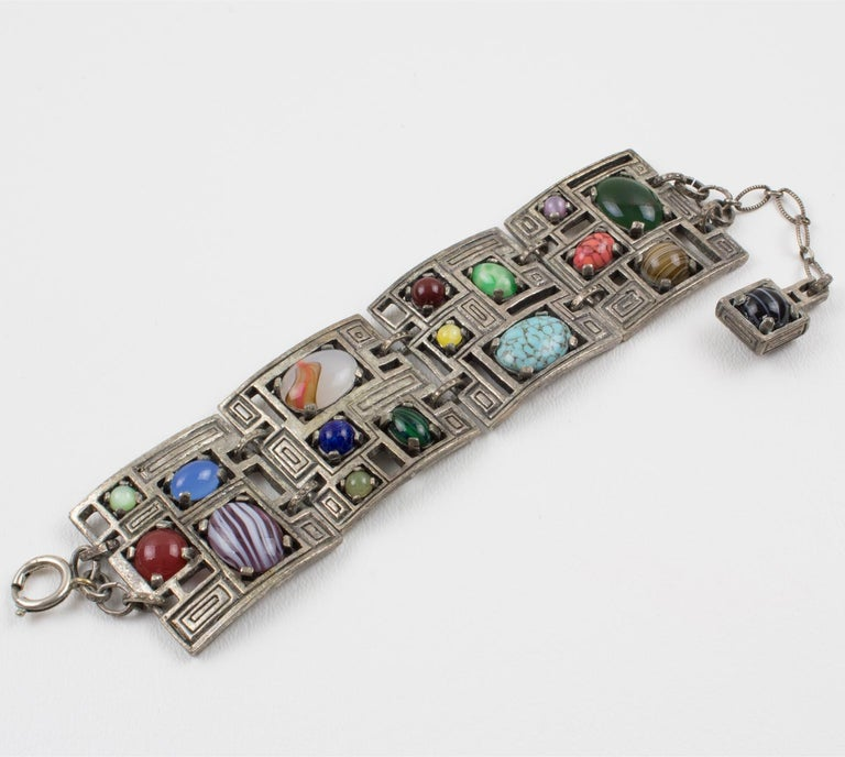 Women's or Men's Modernist 1960s Silvered Metal Gem Stones Link Bracelet For Sale