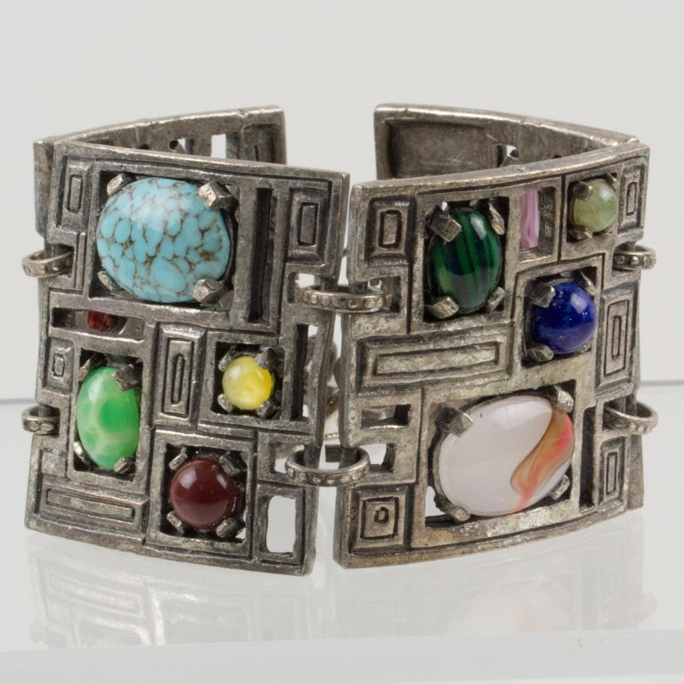 Modernist 1960s Silvered Metal Gem Stones Link Bracelet For Sale 1