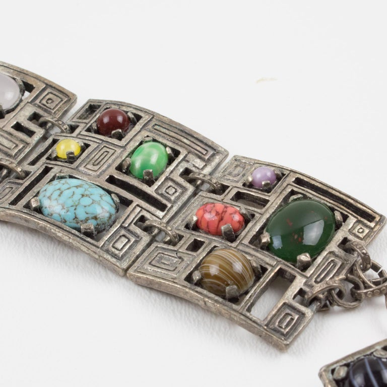 Modernist 1960s Silvered Metal Gem Stones Link Bracelet For Sale 2