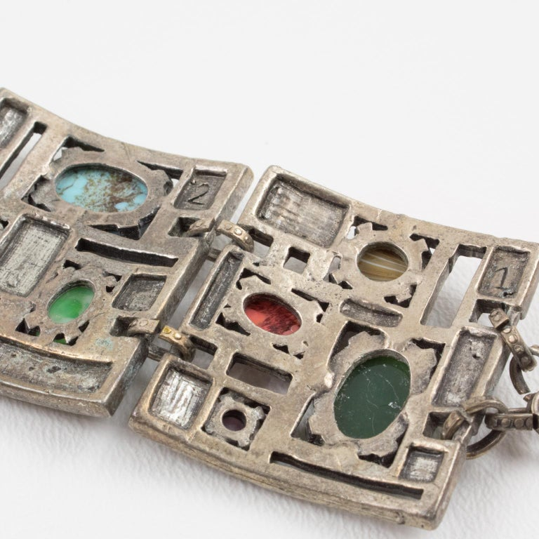 Modernist 1960s Silvered Metal Gem Stones Link Bracelet For Sale 4