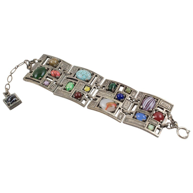 Modernist 1960s Silvered Metal Gem Stones Link Bracelet For Sale