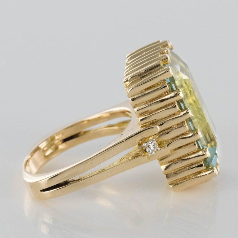 Modernist 1970s 14.20 Carat Aquamarine Diamonds Yellow Gold Ring For Sale 9