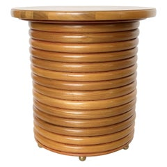 Modernist 1970s Bamboo Side or End Table on Brass Ball Feet