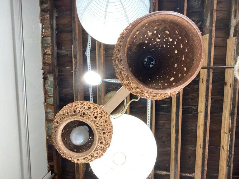 Late 20th Century Modernist 1970s Studio Pottery Handing Pendant Lamps by John Masson