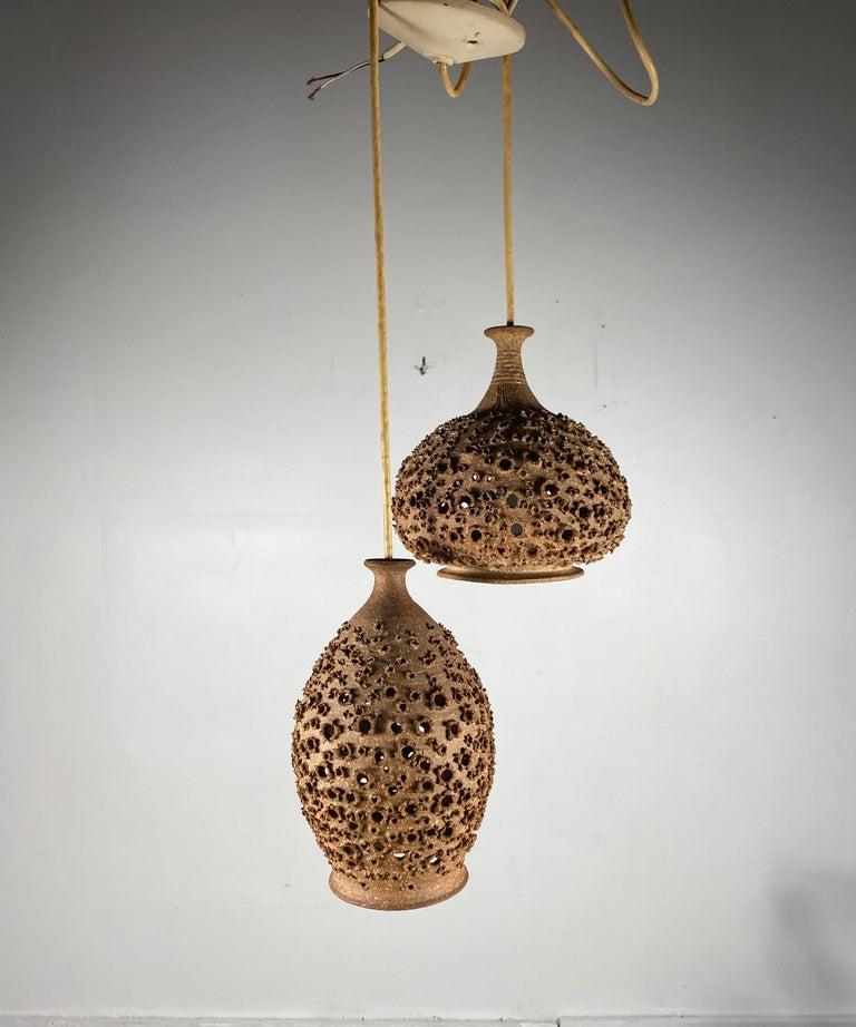Modernist 1970s Studio Pottery Handing Pendant Lamps by John Masson 2
