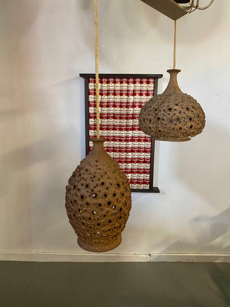 Modernist 1970s Studio Pottery Handing Pendant Lamps by John Masson 3