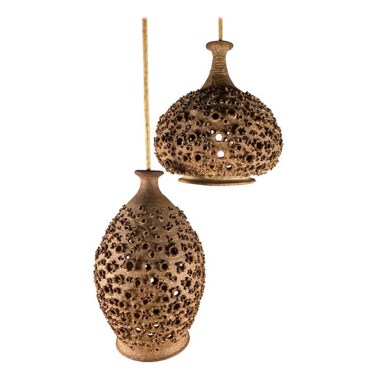 Modernist 1970s Studio Pottery Handing Pendant Lamps by John Masson