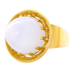 Modernist 22.5 carat Moonstone Set Gold Ring