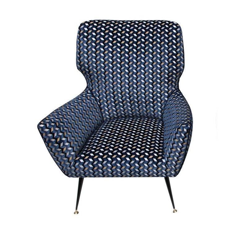 Mid-Century Modern Modernist Armchair Blue Black Gold Velvet Upholstery Italian Design G. Radice For Sale