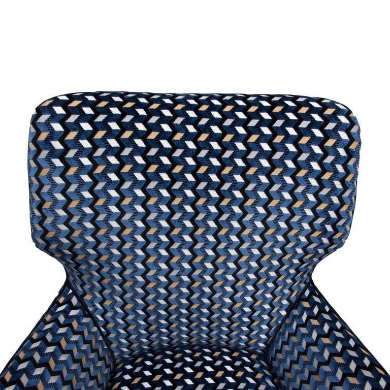 Mid-20th Century Modernist Armchair Blue Black Gold Velvet Upholstery Italian Design G. Radice For Sale