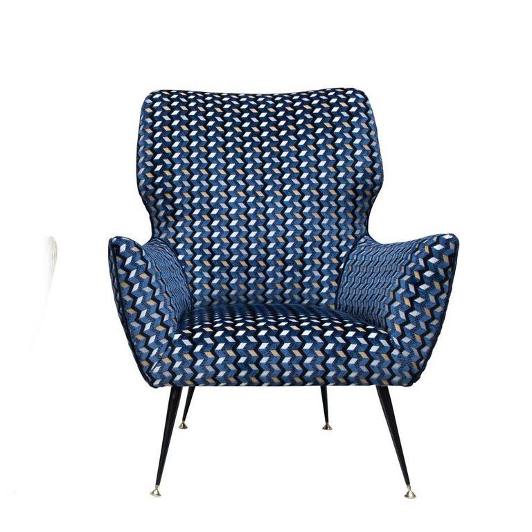Metal Modernist Armchair Blue Black Gold Velvet Upholstery Italian Design G. Radice For Sale