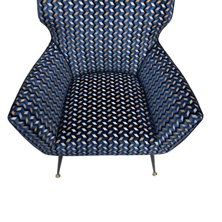 Modernist Armchair Blue Black Gold Velvet Upholstery Italian Design G. Radice For Sale 1