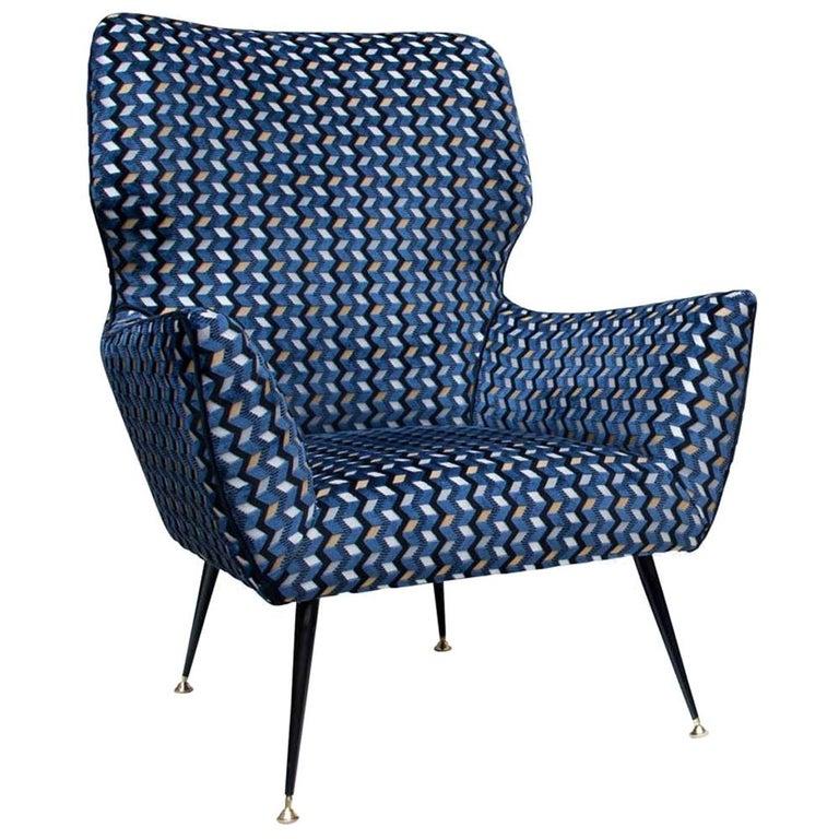 Modernist Armchair Blue Black Gold Velvet Upholstery Italian Design G. Radice For Sale