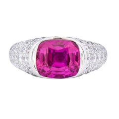 Modernist 7.66 Carat Ceylon Pink Sapphire Diamond Platinum Cocktail Ring