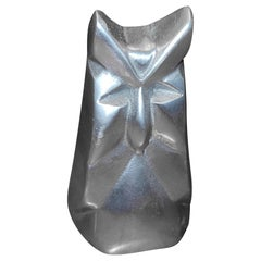 Modernist Abstract Aluminum Owl Sculpture by Chris Petersen, 1976