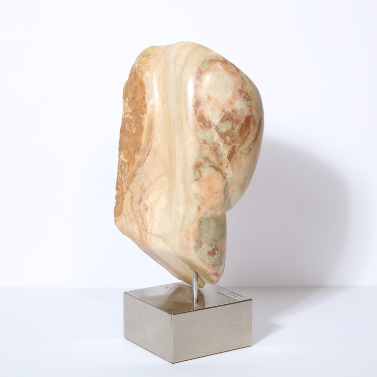 Modernist Abstract Figurative Sculpture in Exotic Marble by Lorraine Stimmel For Sale 4