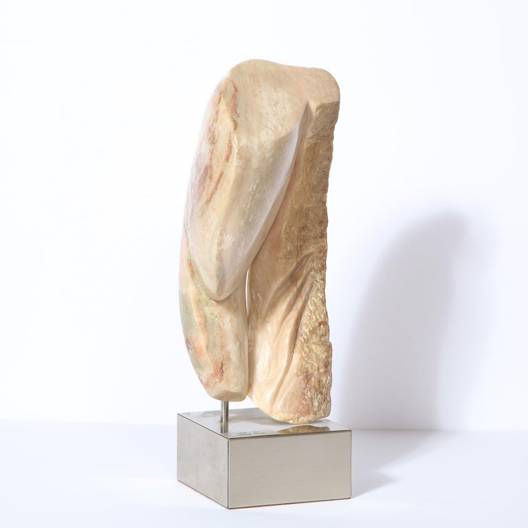 Modernist Abstract Figurative Sculpture in Exotic Marble by Lorraine Stimmel For Sale 5