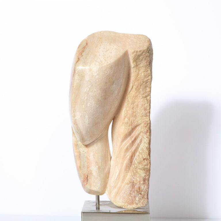 American Modernist Abstract Figurative Sculpture in Exotic Marble by Lorraine Stimmel For Sale