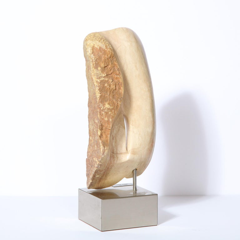 Modernist Abstract Figurative Sculpture in Exotic Marble by Lorraine Stimmel For Sale 2